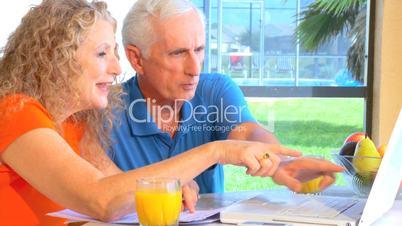 Seniorenpärchen vor einem Laptop