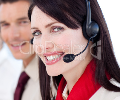 Portrait of a businesswoman with headset on