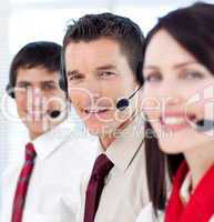 Customer service agents with headsets on