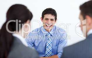 Smiling business people discussing at a job interview