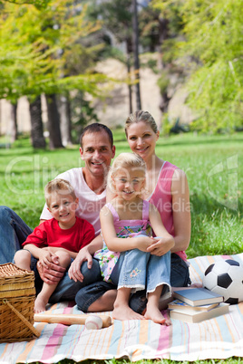 Smiling family having a picnic in a park