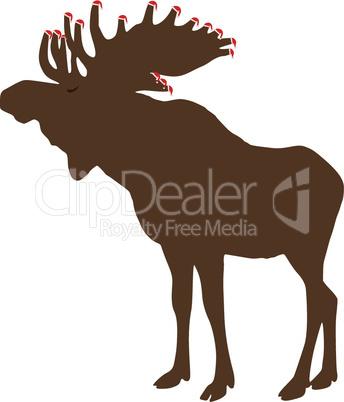 Elch mit Weihnachtsmuetzen