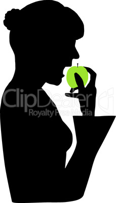 Frau isst grünen Apfel