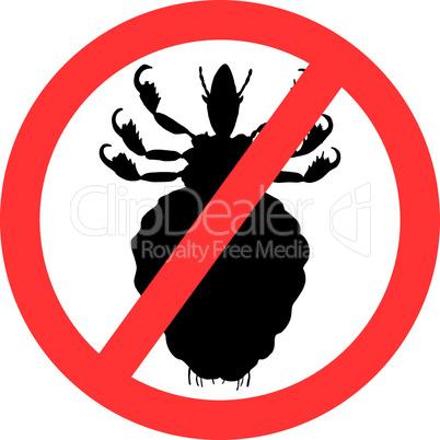 Verbotsschild für Läuse auf weißem Hintergrund
