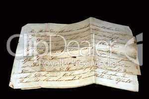 Blatt Papier mit altem Schriftzug