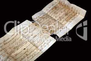 Altes Schriftstück mit schönem Schriftzug