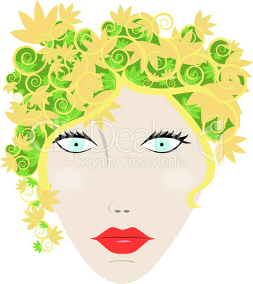 Womans face with autumn leaves for hair vector
