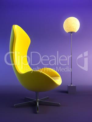 modern armchair 3d rendering