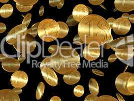 isolated golden coins