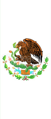 Mexican flag with shield
