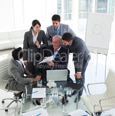 manager in a meeting