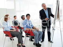 businessman giving a conference
