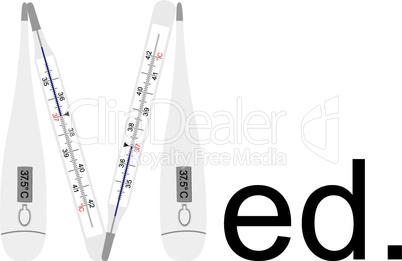 Analoges und Digitales Fieberthermometer als Buchstabe M,