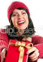 Pretty Woman Offering Holiday Gift