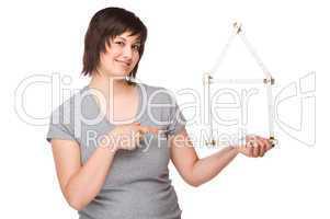 Junge Frau mit einen Zollstock
