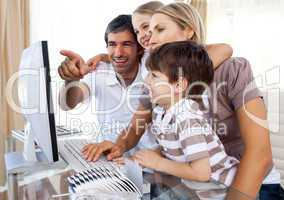 parents and children with computer