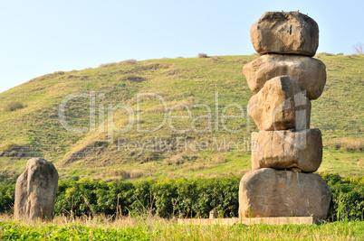 Monument of basalt boulders