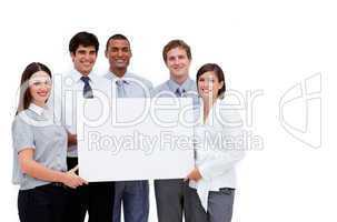 business people holding a white card