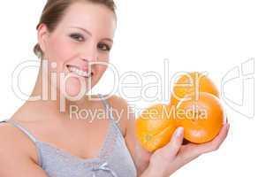 Woman with orange