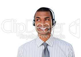 service agent with headset on