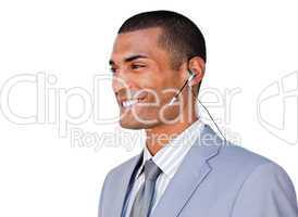 businessman with headset on