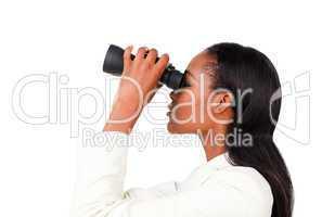 businesswoman looking binocular