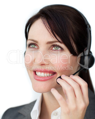 service agent using headset