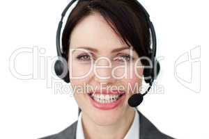female executive with headset