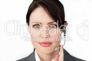 businesswoman using headset