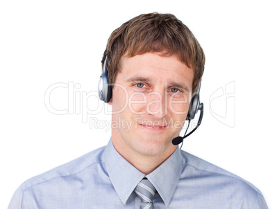 businessmnan with headset on