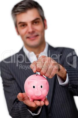 male executive saving money