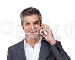 Assertive male executive on phone