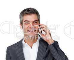 Charismatic businessman on phone