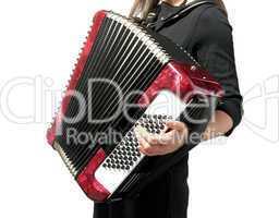 Ausschnitt Frau spielt auf Akkordeon