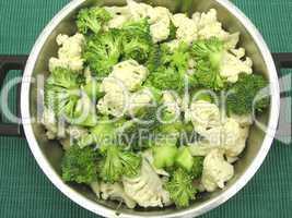 Blumenkohl und Brokkoli in einem Kochtopf vor grünem Hintergrund