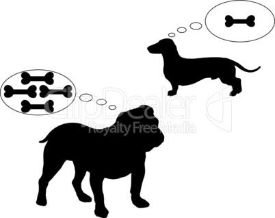 Englische Bulldogge und Dackel träumen von Knochen