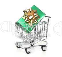 Shopping Cart With Wrapped Holiday Gift