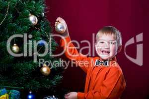 decorating of Christmas tree