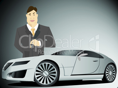 Businessman holding car keys