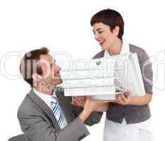 Businesswoman bringing folders