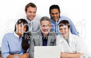 business group using a laptop