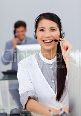 businesswoman with headset on