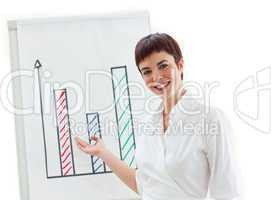 Self-assured businesswoman showing at a board