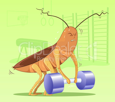 Cockroach lifting dumbbell