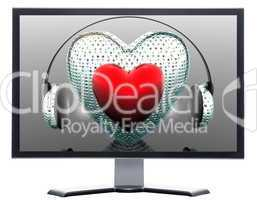 monitor with 3D hearts