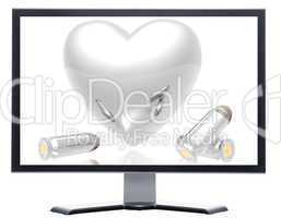 monitor with 3d hearts and bullets background