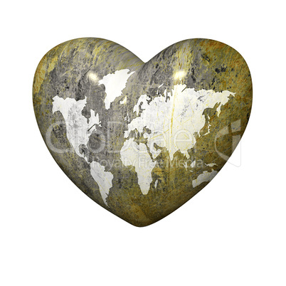 heart with earth grunge map on a white