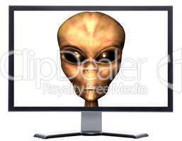 monitor with 3D alien head