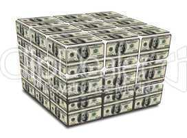 cube with us dollar notes