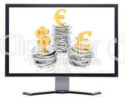 monitor with coins isolated on white